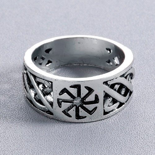 Viking Sun Wheel Ring Viking Knot Band Ring
