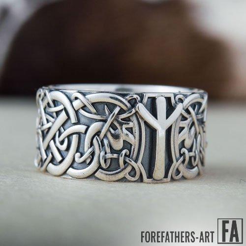 Algiz Rune Ring Viking Elder Futhark Ring Norse Jewelry