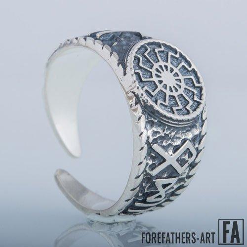 Black Sun Ring Hail Odin Viking Runes Norse Jewelry