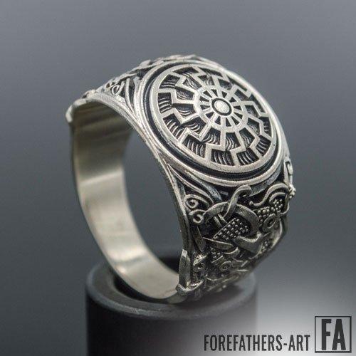 Black Sun Ring Viking Ring with Mammen Ornament