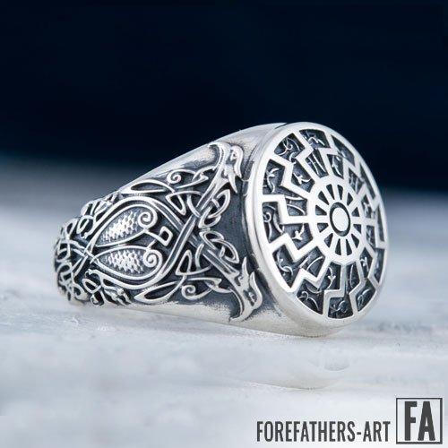 Black Sun Viking Ring Norse Sun Wheel Ring