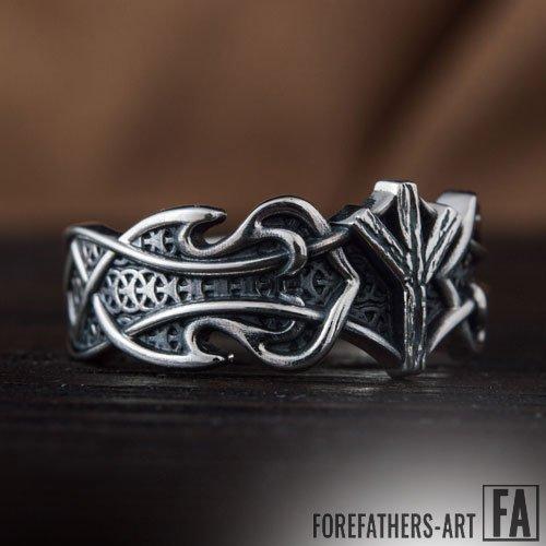 Elder Futhark Ring Algiz Rune Viking Ring Norse Jewelry