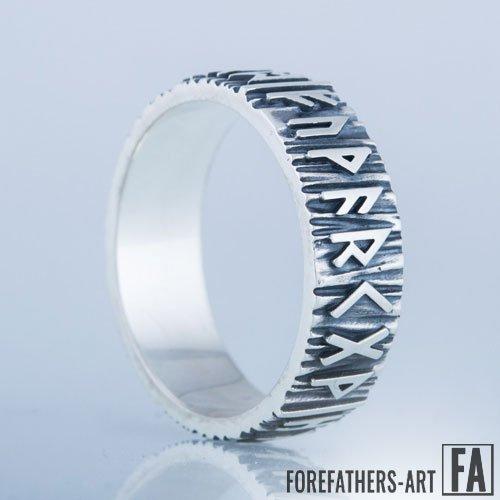 Elder Futhark Runes Viking Band Ring Norse Jewelry