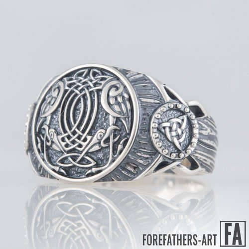 Odin Ravens Ring and Trinity Knot Viking Ring Celtic Norse Ring
