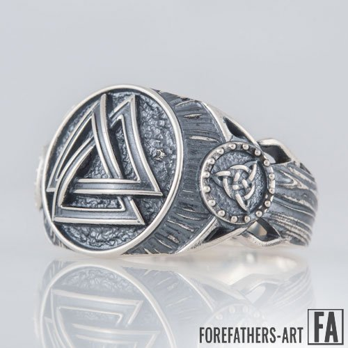 Odin Ring Valknut and Trinity Knot Viking Ring Celtic Norse Ring
