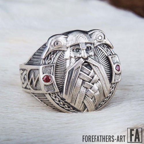 Odin Ring with The Ravens Huginn and Muninn Viking Norse Ring