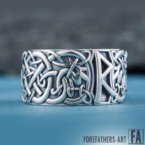 Raido Rune Ring Viking Elder Futhark Ring Norse Jewelry