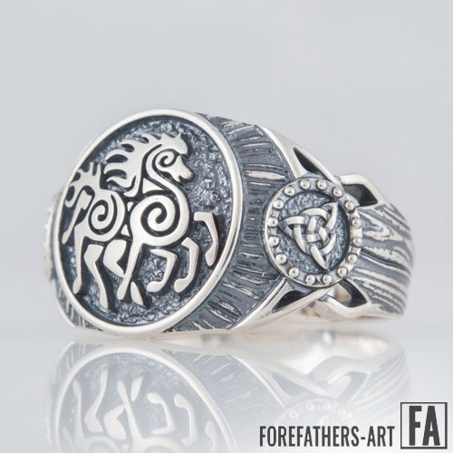 Sleipnir and Trinity Knot Viking Ring Celtic Norse Ring