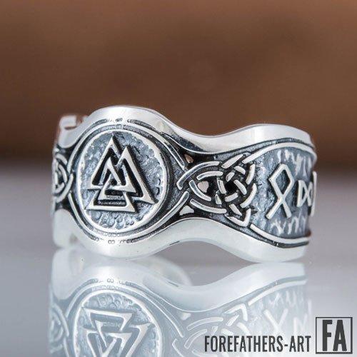 Valknut Ring Hail Odin Viking Runes Norse Jewelry