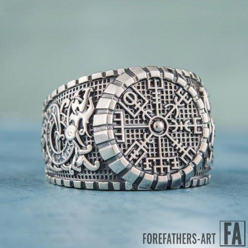 Vegvisir Jormungand Viking Ring Norse Jewelry