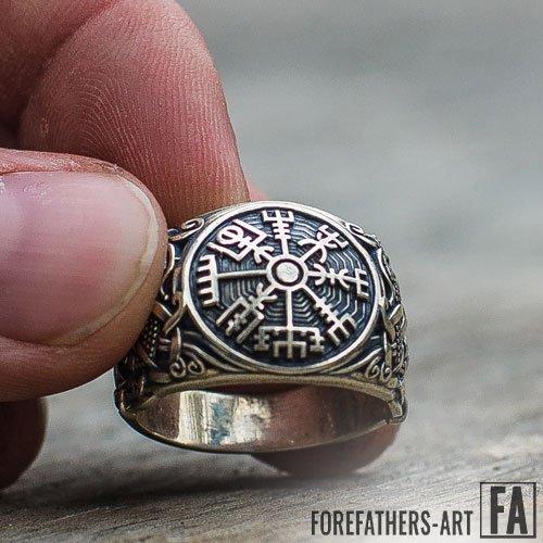 Vegvisir Ring Norse Viking Ring Mammen Style