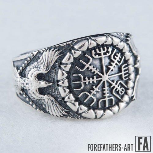 Vegvisir Ring Odin Ravens Viking Norse Ring