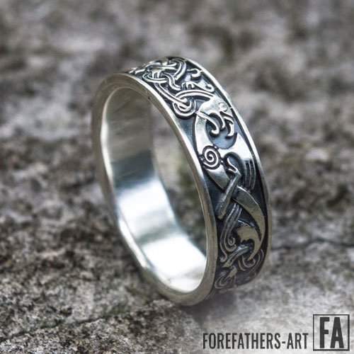 Viking Norse Band Ring With Beautiful Ornaments
