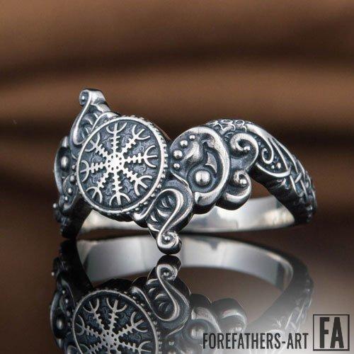 Viking Ring Helm of Awe and Fenrir Icelandic Ring