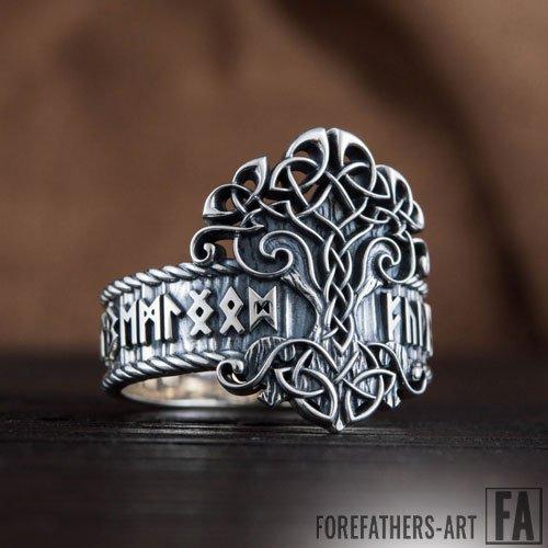 Yggdrasil Ring With Elder Futhark Runes Viking Ring