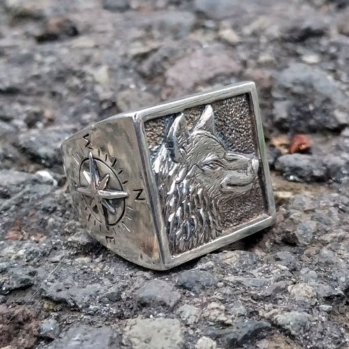 Wolf Ring and Compass Custom Viking Ring