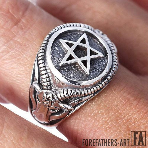 Occult Ring Inverted Pentagram and Satanic Goat