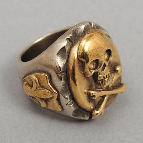 Occult Ring Skull and Crossbones Ring Mens Skull Ring Vintage