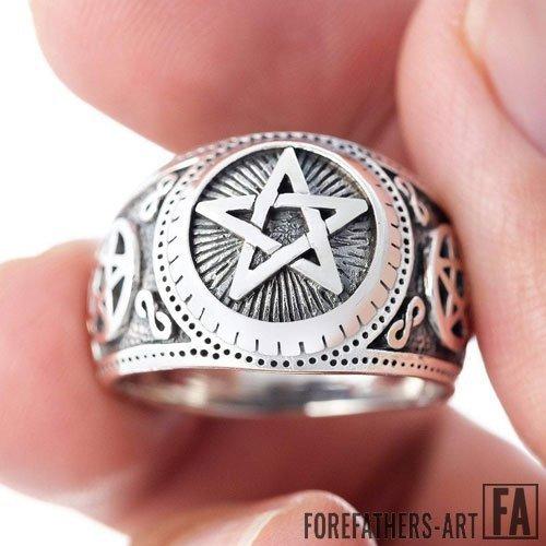 Pentagram Satanic Ring Pentacle Wiccan Ring