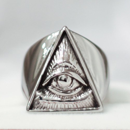 Wiccan Evil Eye Ring Third Eye Occult Ring Triangle