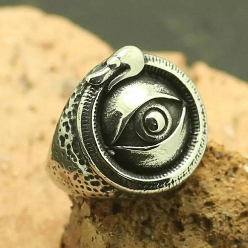 Wiccan Ouroboros Ring Evil Eye Ring