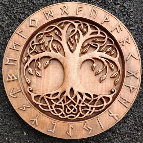 Yggdrasil Wood Carving Norse Viking Tree of Life Wall Decoration