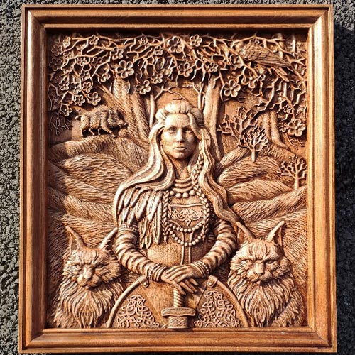 Freya Wood Carving Norse Goddess Viking Wall Decoration