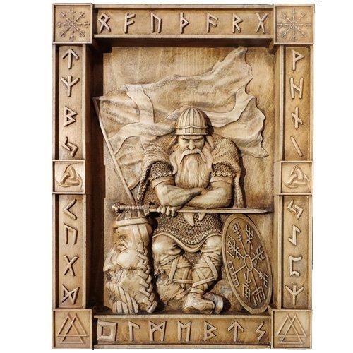 Viking Wood Carving Norse Runes and Scandinavian Warrior