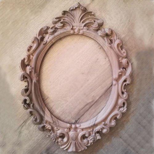 Carved Wooden Mirror Frame Vintage Oval