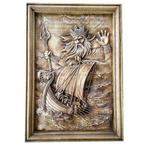 Norse Wood Carving The God of Sea and Storms Neptune Poseidon