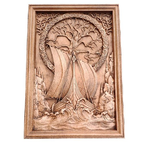 Norse Wood Carving Viking Drakkar Boat and Yggdrasil Tree of Live