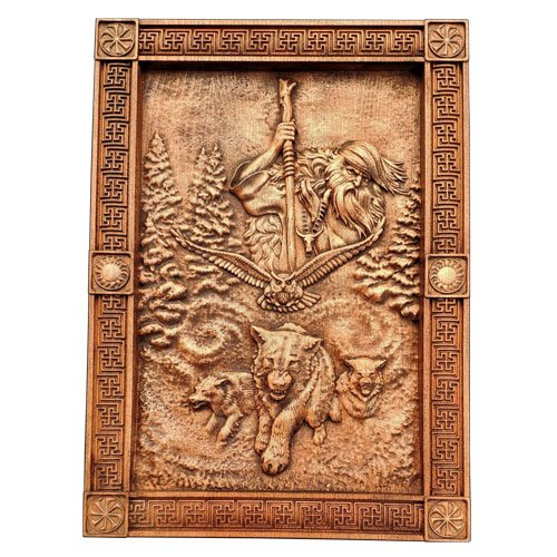 Pagan wood carving Chernobog - The God of Evil and Darkness