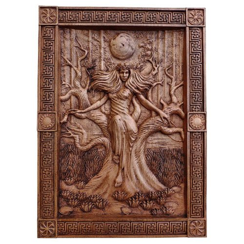 Slavic Goddess Pagan Wood Carving Wall Art Decoration