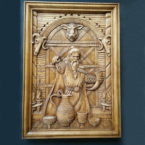 Viking Wood Carving Norse Viking God Loki Woodwork Wall Decoration