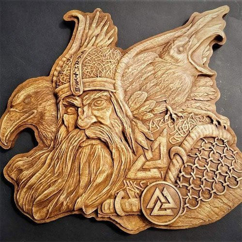 Viking Wood Carving Odin with Huginn and Muninn Norse God Woodwork