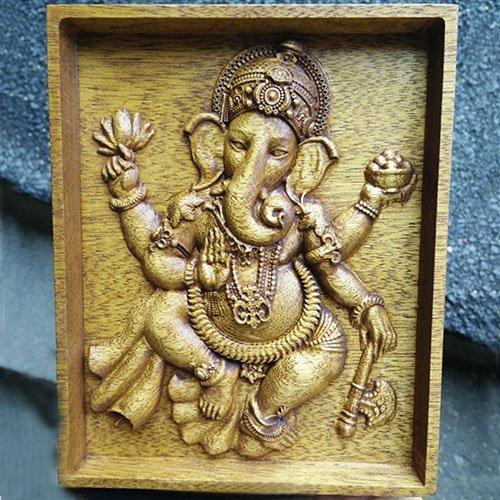 Wood Carving Ganesha Ganapati Hindu Deva Wall Art Decoration